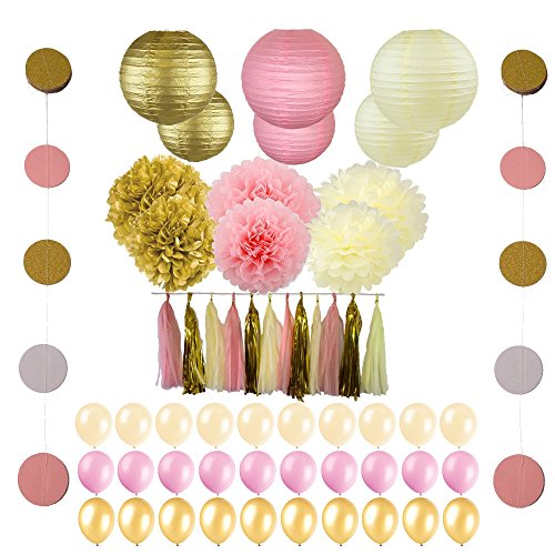 56 pc Pink and Gold Party Supplies for Your Unicorn, Princess, 1st Birthday and Girl Baby Shower (Glitter Mice Decorations)