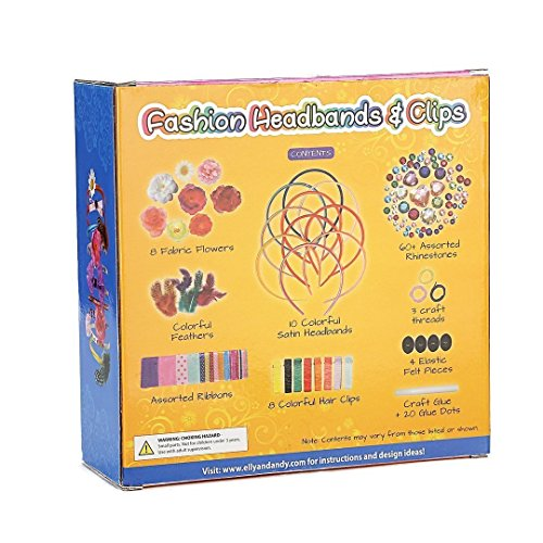 Elly & Andy Fashion Headbands & Clips Hair Accessories Kit - Best Gift For Girls With 10 Headbands, 8 Clips, 8 Flowers, Feathers, 70+ Rhinestones & Ribbons - Best Creative (Seventies Dress Up Ideas)