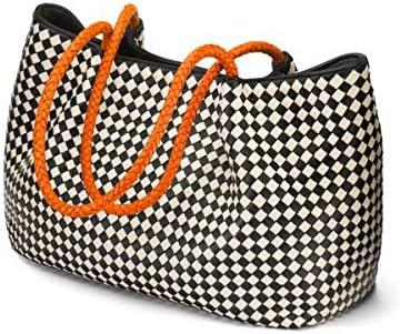SageBrown Cassidy Woven Slouchy Bag Black/Ecru/Orange