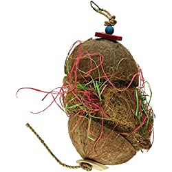 Penn Plax Natural Coconut Hanging Hut Bird Foraging Toy for Medium To Large Parrots