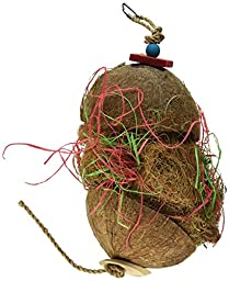 Pen-Plax BA1867 Natural Coconut Hanging Hut Bird Foraging Toy for Medium To Large Parrots