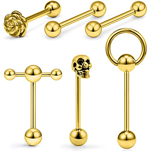SCERRING 6PCS 14G Stainless Steel Rose Skull Door Lock Tongue Teaser Double Barbell with Slave Ring Nippleings Ring Body Piercing Jewelry Gold
