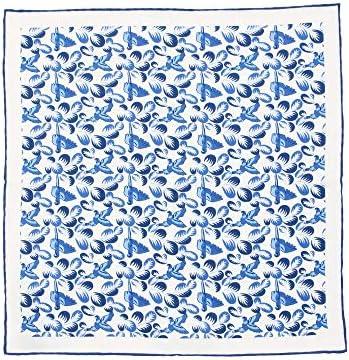 (ザ・スーツカンパニー) MADE IN ENGLAND/シルクポケットチーフ ブルー×ネイビー×ホワイト/バードプリント