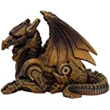 PTC 3.5 Inch Steampunk Sitting Winged Dragon Resin Statue Figurine