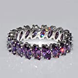 New Women Fashion 925 Silver Amethyst Ring Wedding Engagement Jewelry Size 6-10 (8)