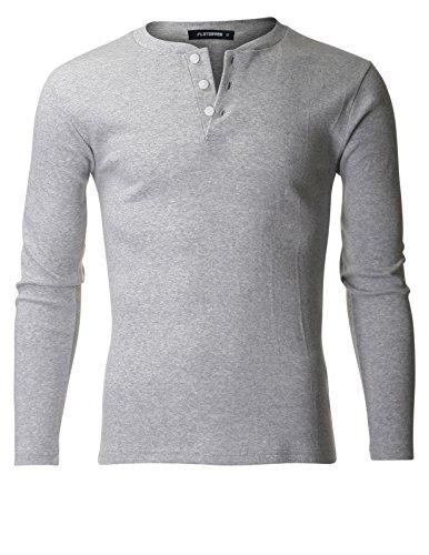 FLATSEVEN Men's Classic Henley Long Sleeve Shirt Buttoned (THL101) Grey, M