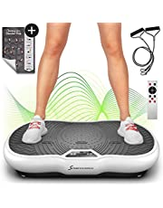 Sportstech Power Vibration Plate VP200 with Bluetooth, Innovative Oscillation Technology for Using at Home. Incl. Training Poster+ Power Ropes + Remote Control + Integrated Loudspeaker (White)