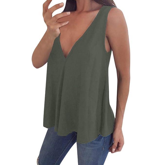 d2f33b6cd0d2ea MOSERIAN Womens V Neck Tank Tops Sleeveless T-Shirt Summer Vest Blouse Plus  Size Army
