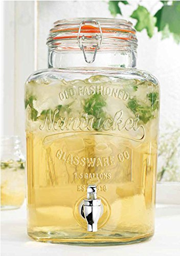 Ice Cold Beverage Drink Nantucket Dispenser with Locking Clamp Lid 1.5 Gallon Small Towel Included (Color Of Towel May - Beverage Dispenser Ice