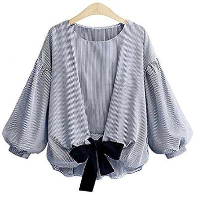Pengy Women Plus Size Summer Lantern Long Sleeve Round Neck Bowknot Stripe  Tops Blouse T- 61a585575227