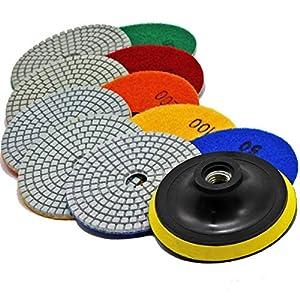 Stadea Diamond Polishing Pads Wet Dry 15 Pcs Set, 4 Inch for Granite Quartz Stone Concrete Marble Countertop Polishing Polisher Grinder, 14 Pads Discs Plus 1 Hook & Loop Backing Pad Holder
