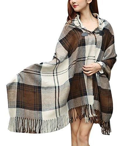 Women Plaid Hooded Poncho Bobo Shawl Fringe Tartan Wrap Tasseled Batwing Cape by Landove (Image #2)