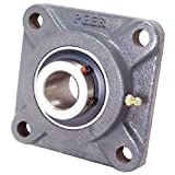 "Peer Bearing PER UCF208-24 4 Bolt Standard Flange Bearing Unit, Cast Iron, Wide Inner Ring, Relubricable, Set Screw Locking Collar, Single Lip Seal, 1-1/2"" Bore, 4"" Bolt Center"