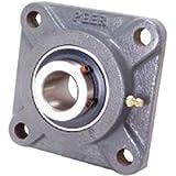 Peer Bearing PER UCF205-16 4 Bolt Standard Flange Bearing Unit, Cast Iron, Wide Inner Ring, Relubricable, Set Screw…