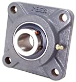 Peer Bearing PER UCF205-16 4 Bolt Standard Flange Bearing Unit, Cast Iron, Wide Inner Ring, Relubricable, Set Screw Locking Collar, Single Lip Seal, 1'' Bore, 2-3/4'' Bolt Center