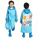 Ezyoutdoor Unisex Kids Pink/Blue/Yellow Owl Children Hooded Raincoat Rain Jacket Poncho with School Bag Cover with Reflective Strip Children Raincoat Cartoon Poncho