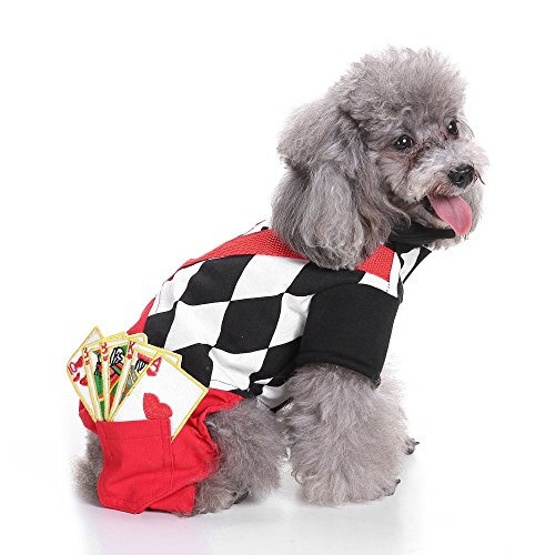 Youbedo Magician Dog Costume Halloween Pet Poker Magic Clothes for Dog Cat Costume Jumpsuits Jacket Coat Cat Funny…