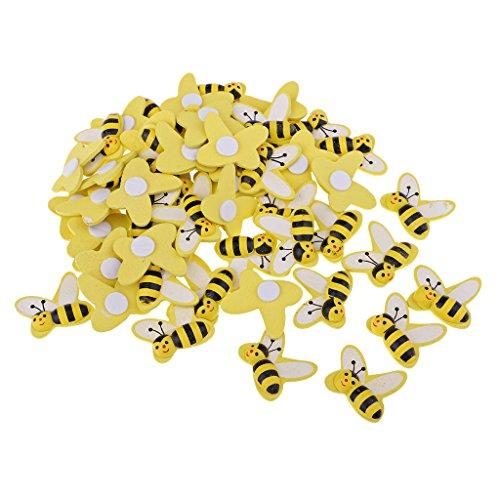 Perfk 約50個 蜂の形 木製 フラットバック 装飾 木材チップ DIY カード作成 スクラップブッキング ミニチュア庭装飾品