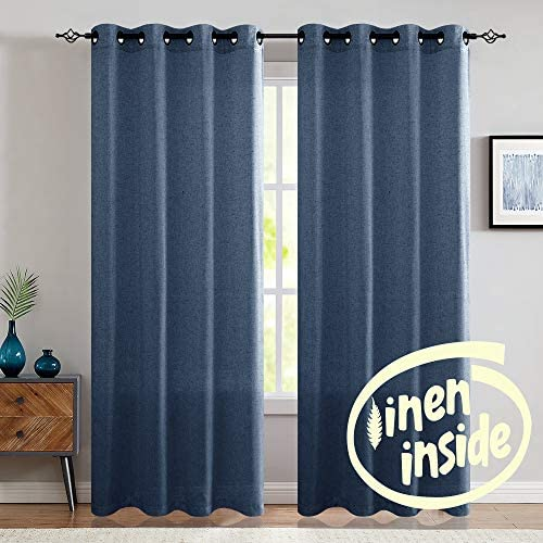 jinchan Linen Curtains for Living Room Drapes Flax Window Curtain Panels for Bedroom 1 Pair 95 Indigo Blue