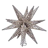 Kurt S. Adler 12'' Champagne and Silver Glitter Moravian Star Treetop