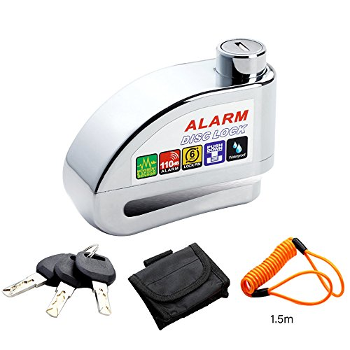 ELE KING Disc Brake Lock Anti-Theft, Waterproof 110dB Alarm Sound and 6 mm Pin Brake Disc Wheel Security Lock with 1.5m Reminder Cable for Motorcycles Bicycles(Silver)