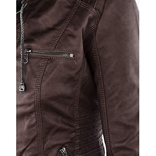 Cappotto Coffee Plus Slim Jacket Giacca Eleganti Di Manica Invernali Pelle Incappucciato Vintage Costume Prodotto Giubbotto Lunga Moda Finta Moto Donna Biker Fit Autunno q1SHBwqr
