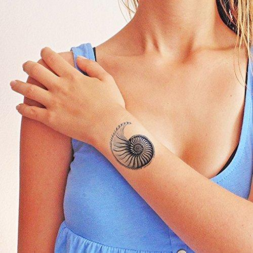 Nautilus concha de mar azul - Tatuaje temporal (conjunto de 2 ...