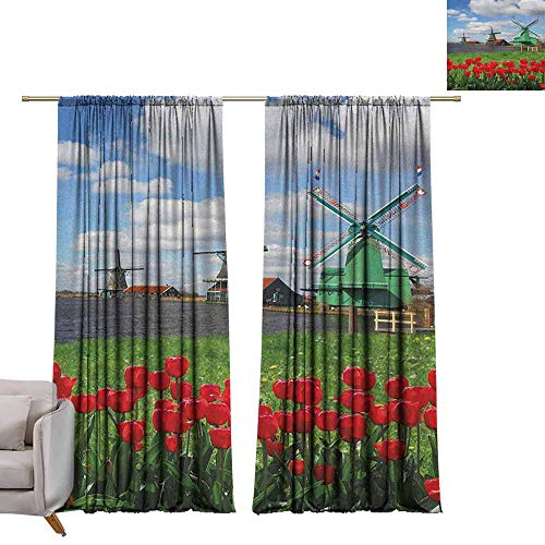 - Decor Curtains by Windmill,Traditional Dutch Windmills with Red Tulips in Amsterdam Scenic Field Riverscape, Multicolor W72 x L96 Blackout Draperies for Bedroom