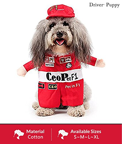 ASSHO Pet Costume Racing Driver Role Play Suit with Hat For Cat/Small Doggy Halloween Party Cosplay Novelty (Dog Costumes Doggie Vogue)