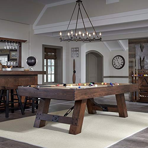 American Heritage Savannah 8' Pool Table Featuring a Rustic Farmhouse Design-Includes Pool Table Balls