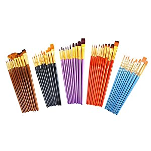 S & E TEACHER'S EDITION 50 Pcs Colorful Paint Brush Set, Nylon Hair, Acrylic, Oil, Watercolor Paints