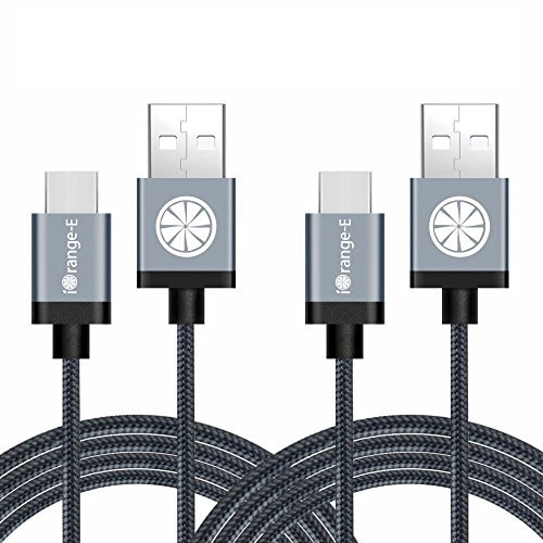 Type C, iOrange-E 2 Pack 6.6 Ft Braided Cable for Nexus 6P, Nexus 5X, Onplus 2, Lumia 950, LG G5, Apple Macbook 12 inch, Pixel, Nokia N1, Nintendo Switch and Other USB C Devices, Black