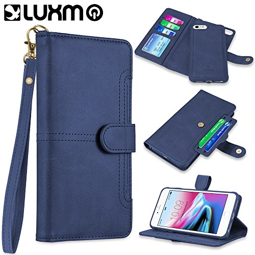 LUXMO The NAPA Collection Leather Detachable Wallet CASE with ID Windows and Extra Card Slots for iPhone 8/7 / 6 - Navy Blue