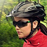 NoCry Safety Sunglasses with Green Tinted Scratch Resistant Wrap-Around Lenses and No-Slip Grips, UV 400 Protection. Adjustable, Black & Green Frames