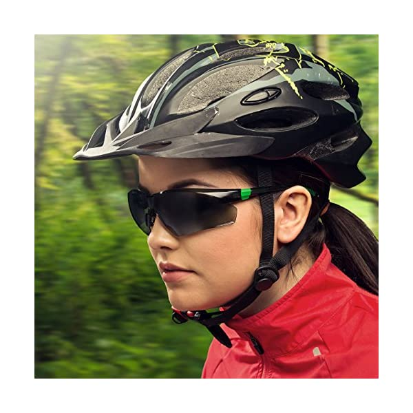 NoCry Work and Sports Safety Sunglasses with Green Tinted Scratch Resistant Wrap-Around Lenses and No-Slip Grips, UV 400… 2