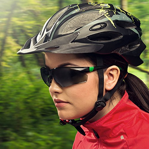 NoCry Work and Sports Safety Sunglasses with Green Tinted Scratch Resistant Wrap-Around Lenses and No-Slip Grips, UV 400 Protection. Adjustable, Black & Green Frames 2