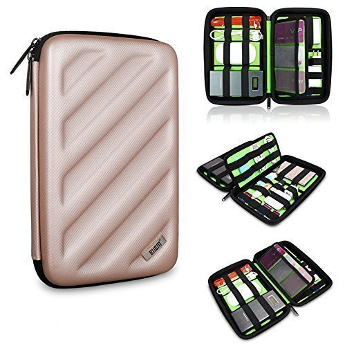 BUBM Portable EVA Hard Drive Case Travel Organizer for Electronics (1 Gold Large)