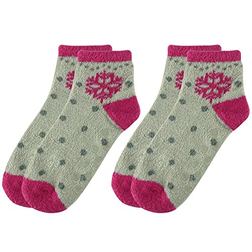 Womens Grip Socks,Cozy Fuzzy Snowflake Polka Dots Fancy Pattern Bed Socks Anti-slip Room Socks Vive Bears 2 Pairs