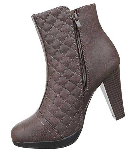 Damen Stiefeletten Schuhe Boots Designer Schwarz Braun
