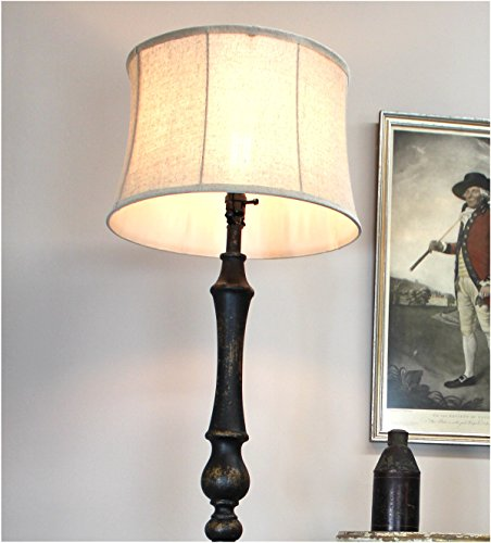 Black Floor Lamp with Aged Black Painted French Country Finish Soft Back Shade by The King's Bay (Image #1)