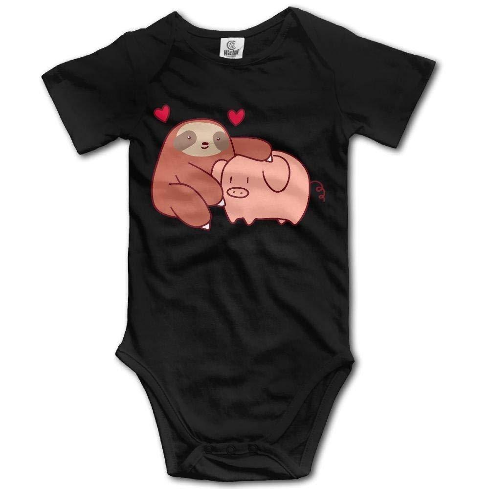 Sloth Loves Pig Baby Newborn Crawling Suit Short-Sleeve Onesie Romper Jumpsuit