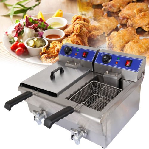 Ambienceo 3600W 20L Dual Tank Electric Deep Fryer Machine with Drain Faucet Lid Basket Commercial Countertop Chicken for Restaurant Supermarket Fast Food Shop Snack Bar