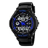 SKMEI Men's 50M Waterproof Sport Watch Outdoor Mountaineering or Hiking Watches LED Digital Watch for Kids Children's Boy Men's (Small, Blue)