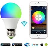 Smart Light Bulb Work With Alexa, RGB 45W Wifi Bulb Assistant for Amazon Echo and Google Home. Multicolor, Dimmable,No Hub Required, CE/FCC/UL Listed