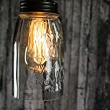 Colonial Tin Works Clear Glass Quart Open Bottom Mason Jar Pendant Lamp,4'' dia. and 10'' tall