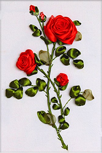 Ribbon embroidery Kit,Fanryn 3D Silk ribbon embroidery Red Roses pattern design Cross Stitch Kit Embroidery for beginner DIY Handwork Home Decoration Wall Decor 50x40cm (No frame) ()