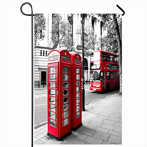 Ahawoso Seasonal Garden Flag 12x18 Inches Kingdom White Red Phone Booth Bus Motion Black London Telephone British Colour Box Design England Home Decorative Outdoor Double Sided House Yard Sign