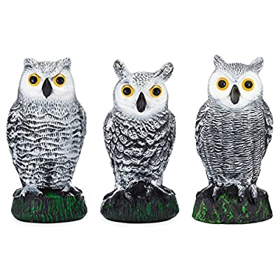 Scarecrow Fake Owl Decoys - Pest Repellent Garden Protectors – (small) (set of 3)