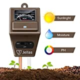 Soil Moisture Meter - 3 in 1 Soil Tester Kit Jellas Plant Moisture Sensor Meter/Light/pH Tester for Home, Garden, Lawn, Farm Promote Plants Healthy Growth - Brown