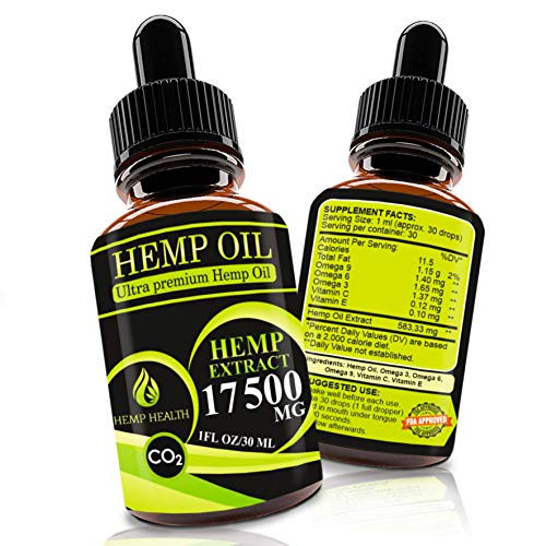 Hemp Oil Drops 17500mg, Co2 Extracted, Help Cope With Stress, Anxiety and Pain, 100% Natural Ingredients, Vegan Friendly, GMO Free, Made in USA